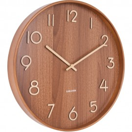 Pure Medium Dark Basswood Wall Clock 40cm
