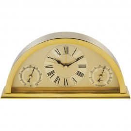 Gold Aluminium Crescent Shaped Mantel Clock 20cm