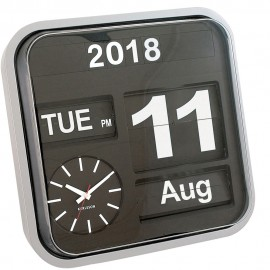 Big Flip Silver Cased Calender Wall Clock 43cm
