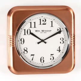 Square Metal Case Wall Clock Copper Finish 32cm