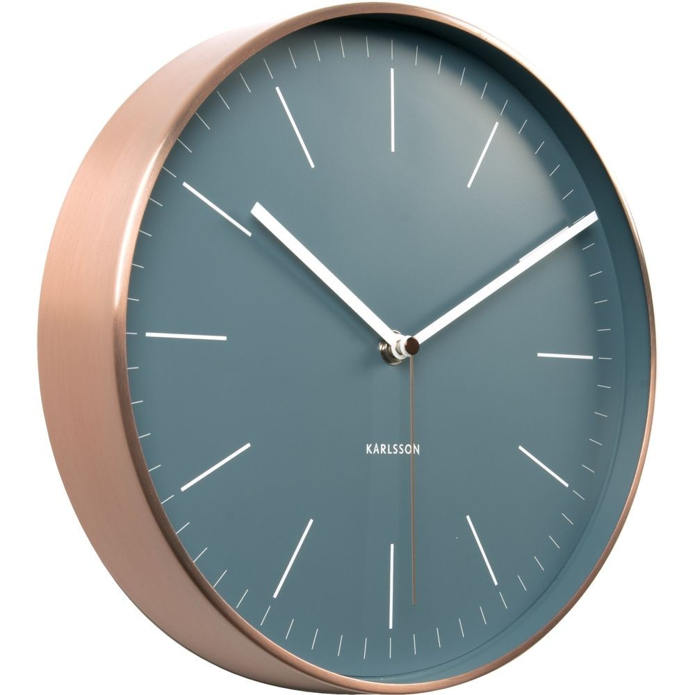 Minimal Jeans Blue Wall Clock With Copper Case 27 5cm