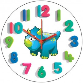 Blue Junior Dino Wall Clock 28.5cm