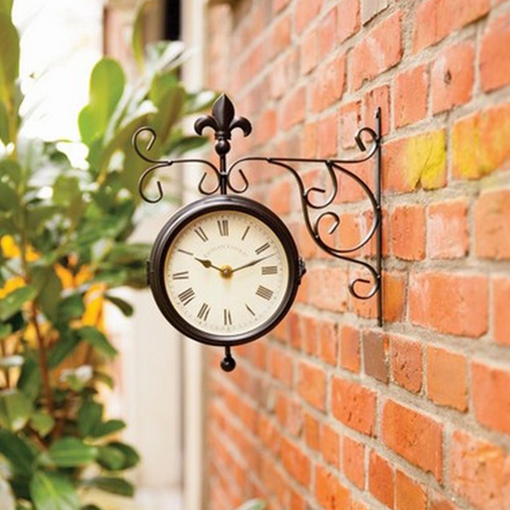 station thermometer outdoor wall clock 38cm