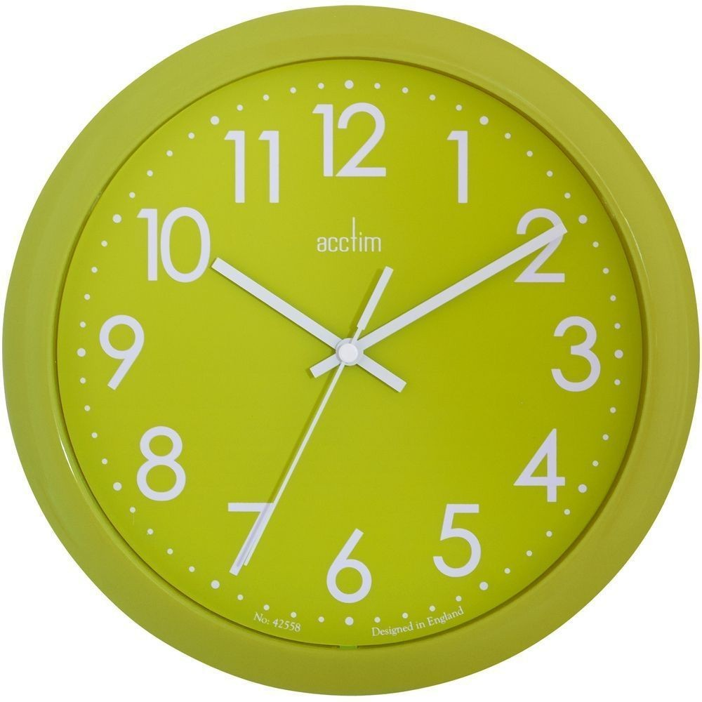 Abingdon lime green wall clock 255cm for Green wall clocks uk