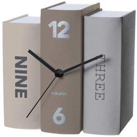 Book Grey Table Clock 20cm