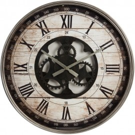 Vintage Metal Wall Clock Open Movement Style 60cm
