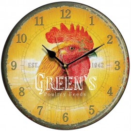 Green's Poultry Feed Cockerel Wall Clock 28.5cm