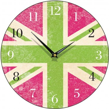 Green And Pink Union Jack Wall Clock 28.5cm