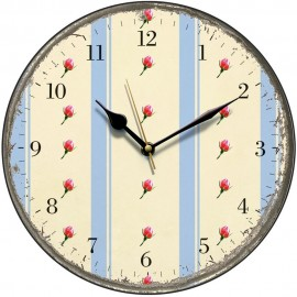 Retro Blue Stripes And Rosebuds Wall Clock 28.5cm