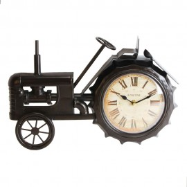 Metal Mantel Clock - Black Tractor White Dial 41cm