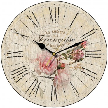 Vintage French Rose Wall Clock 28.5cm