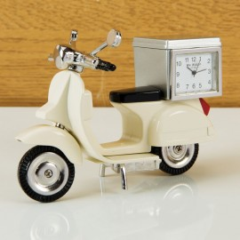 Miniature Clock Cream Scooter with Back Box