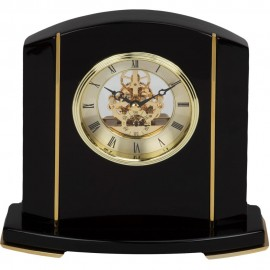 Black Piano Wood Skeleton Movement Mantel Clock 20cm