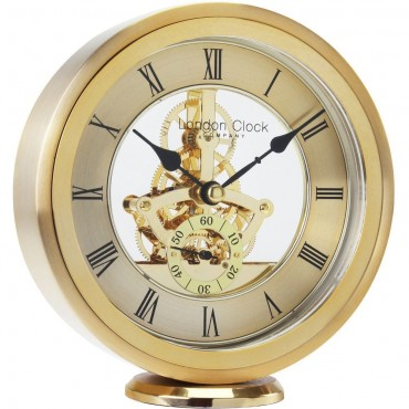 Round Gold Skeleton Mantel Clock 14.5cm