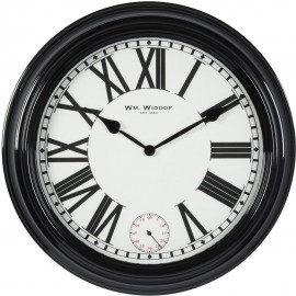 Round Deep Cased Metal Wall Clock Black Roman 50cm