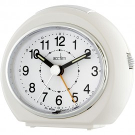 Easi-Set Push Lens Pearl White Alarm Clock 9.5cm