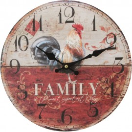 Round  Wall Clock 30cm - Rooster/Family