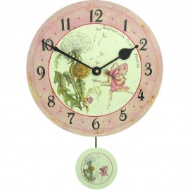 Dandelion Fairy Wall Clock With Pendulum 28.5cm