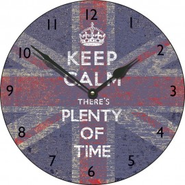 Large Union Jack Keep Calm Plenty Of Time Wall Clock 45cm