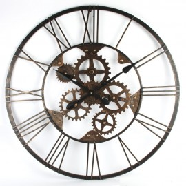 Round Metal Wall Clock Skeletal Design 80cm