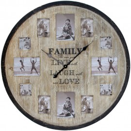 Wooden Multi Aperture Frame Clock Family 80cm