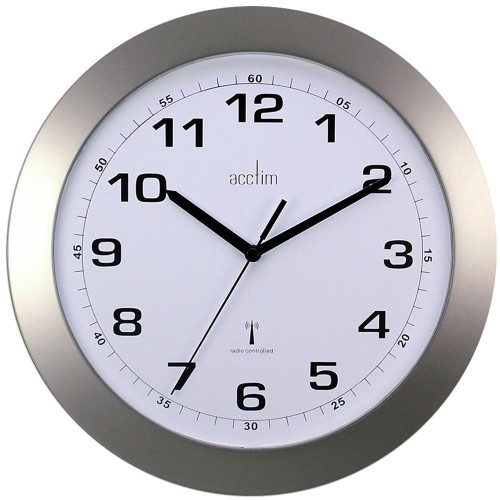 Cadiz Silver Radio Controlled Wall Clock 25.5cm