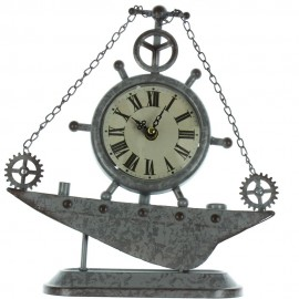 Metal Case Mantel Clock - Ships Wheel 27.5cm