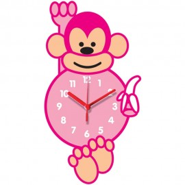 Pink Monkey Shaped Childrens Wall Clock 35cm