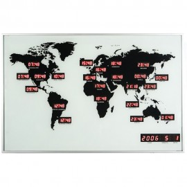 World Time Digital Wall Clock 55cm
