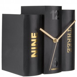 Black Book Table Clock 20cm