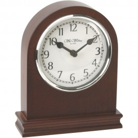 Arched Walnut Wood Mantel Clock with Arabic Dial 14cm