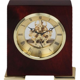 Skeleton Style Movement Piano Wood Mantel Clock 13cm