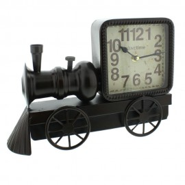 Metal Mantel Clock - Black Locamotive Arabic Dial 31cm