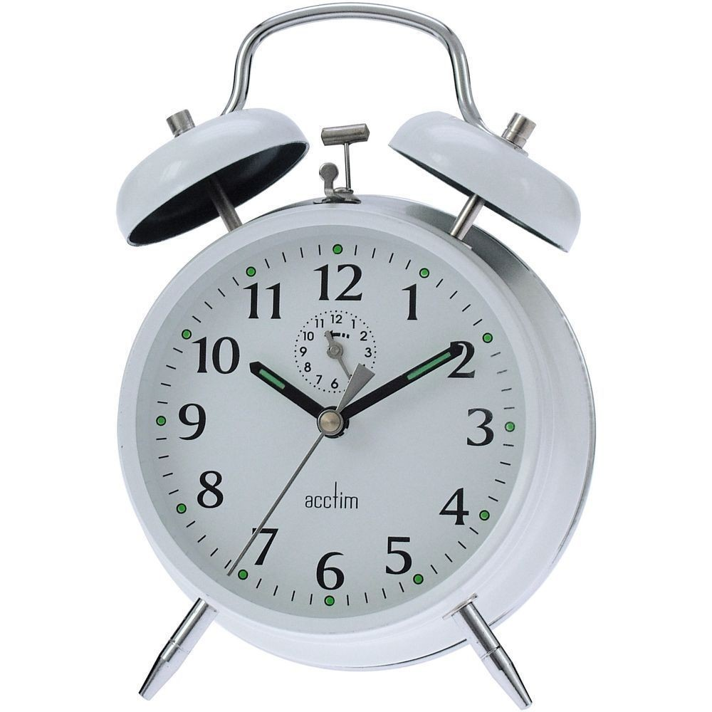 Saxon Wind Up Twin Bell Alarm Clock 16cm