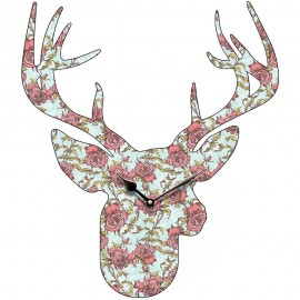 Stag Head Small Flower Pattern Wall Clock 45.5cm