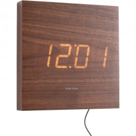Square Wood Veneer Dark Wood, White Led Wall Clock 20cm