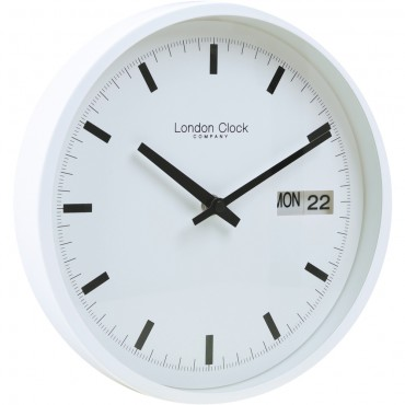 White Day Date Wall Clock 25cm