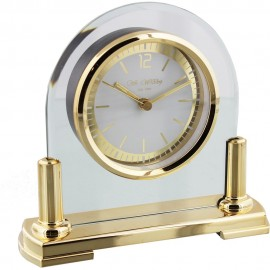 Glass Mantel Clock 2 Tone Dial Gold Stand 16cm