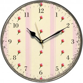 Retro Pink Stripes And Rosebuds Wall Clock 28.5cm
