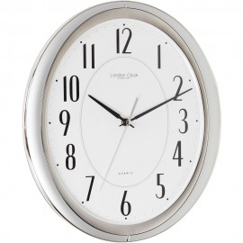 Silver Sweeping Oval Wall Clock 32.5cm