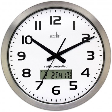 Meridian Radio Controlled Wall Clock With Day, Date & Temperature 38cm