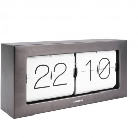 Flip Box Gun Metal Table Clock 37cm