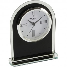 Black & Clear Arched Mantel Clock 12.5cm