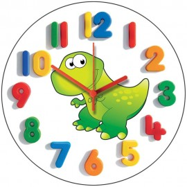 Green Junior Dino Wall Clock 28.5cm