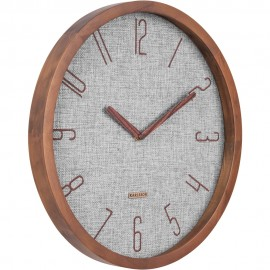 Canvas Melange Grey, Pine Wood Case Wall Clock 35cm