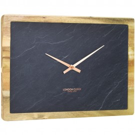 Carbon Wall Clock Rectangle 35cm
