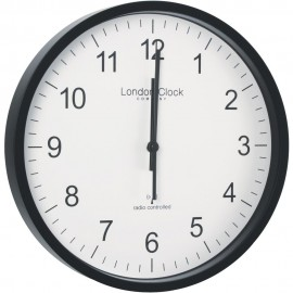 Radio Controlled Black Office Wall Clock 30.5cm