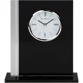 Black Glass Mantel Clock Silver Bezel 19cm