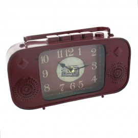 Metal Mantel Clock - Red Radio Arabic Dial 27.5cm