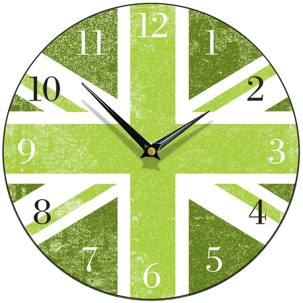 Union jack wall clock 285cm green union jack wall clock 285cm amipublicfo Images